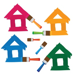 set of coloured houses drawn by paint vector image vector image