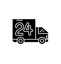 24 hours delivery black icon sign o vector image