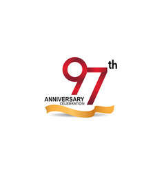 97 anniversary design logotype red color vector