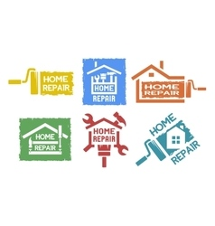 A set of emblem on the topic of home repair vector