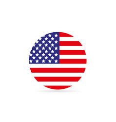 american flag in a circle on a white background vector image