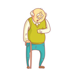 An elderly man with cane suffering from heart pain vector