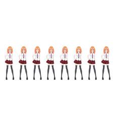 Anime manga schoolgirl plaid red skirt tie pattern vector