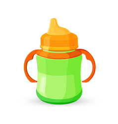 Baby cup bottle green orange translucent drinking vector