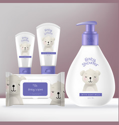 Baby toiletries or skincare packaging vector