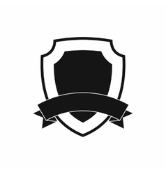 Black shield with ribbon icon simple style vector image