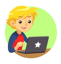 Boy Wearing Red Blue Shirt And Dark Grey Laptop vector