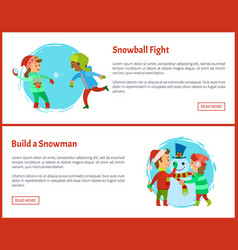 build snowman and snowball fights postcards vector image
