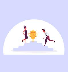 Business man woman climbing podium first place vector