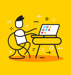 business of man sitting on chair and working at vector image