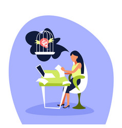 businesswoman working laptop thinking light bulb vector image