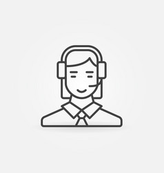 call center operator line icon woman in vector image