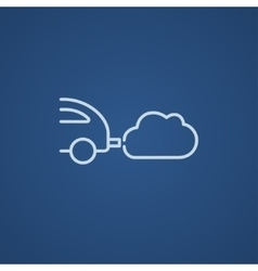 Car spewing polluting exhaust line icon vector
