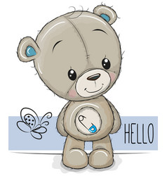 Cartoon teddy bear on a white background vector