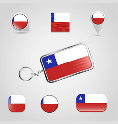 Chile country flag on keychain and map pin vector