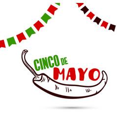 cinco de mayo with chili pepper vector image