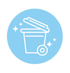 Cleaning plastic trash can with and wheels vector