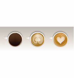 coffee cups top view set realistic mug with drink vector image