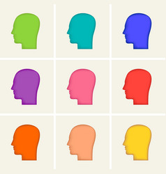 colored icons set human head profile silhouette vector image