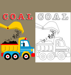 Coloring book with truck and crane cartoon vector