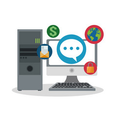 Computer work or office related icons image vector