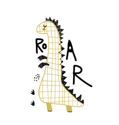 creative hand drawn dino with lettering cartoon vector image