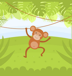 cute monkey hanging on a vine in tropical forest vector image