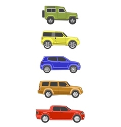 different colored suv car off-road 4x4 icon set vector image