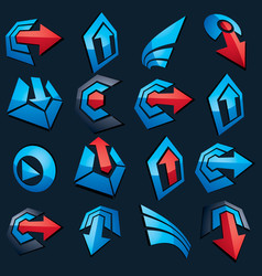 Dimensional blue app buttons collection of vector