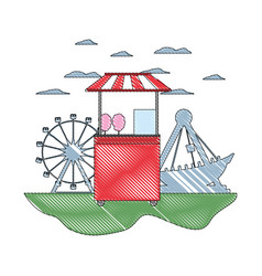 Doodle carnival shop with cotton candy and games vector