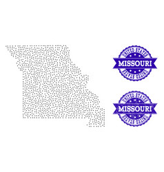 Dotted map of missouri state and scratched seal vector