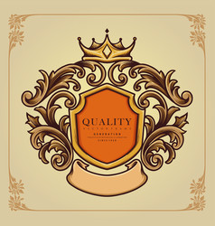 elegant badge crown ornate classic vector image