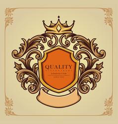 ellegant badge crown ornate classic vector image