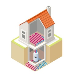 Energy Chain 05 Building Isometric vector image