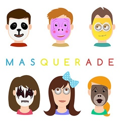 Face mask icons Faces with animals pig panda vector