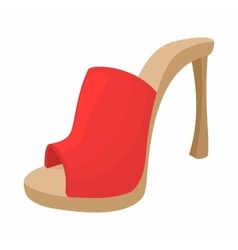 Female red opened shoe icon cartoon style vector image