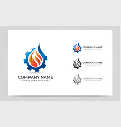fire gas and gear combination logo design vector image
