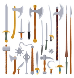 flat design colors medieval weapon set vector image