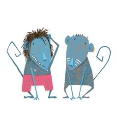 Funny monkey couple hand drawn animal cartoon vector