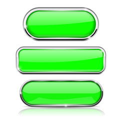 Green buttons set collection of web 3d shiny vector