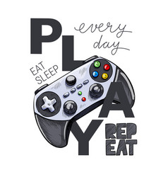grey gamepad with text composition hand drawn vector image