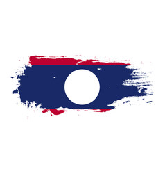 Grunge brush stroke with laos national flag vector