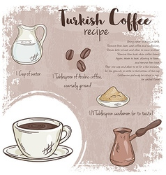 Hand drawn of turkish coffee recipe with list of vector