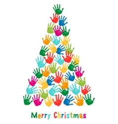 Hand print Christmas tree vector image