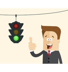 Happy businessman or manager in the background vector