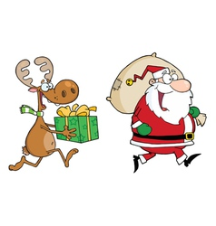 Happy Santa Claus And Reindeer Runs With Gifts vector image