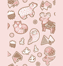 holiday seamless pattern with ginger cookies vector image