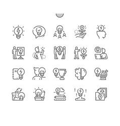 Idea well-crafted thin line icons vector
