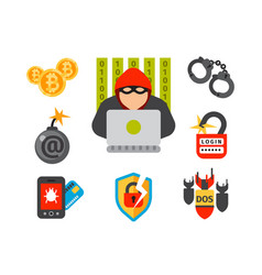 internet security safety icon virus attack vector image