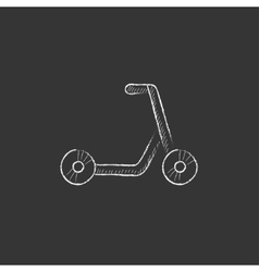 Kick scooter Drawn in chalk icon vector